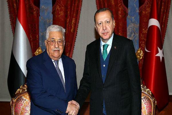 دیدار اردوغان و ابومازن در حاشیه نشست سازمان همکاری اسلامی/عکس