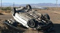 واژگونی خودرو جان راننده را گرفت