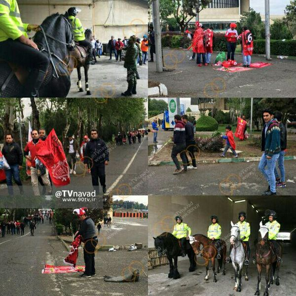 عکس/ پلیس های  اسب سوار در بیرون ورزشگاه آزادی