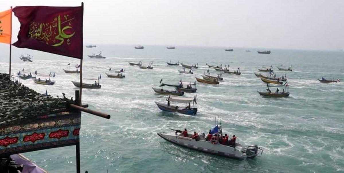رژه گسترده شناورهای بسیج دریایی در خلیج فارس