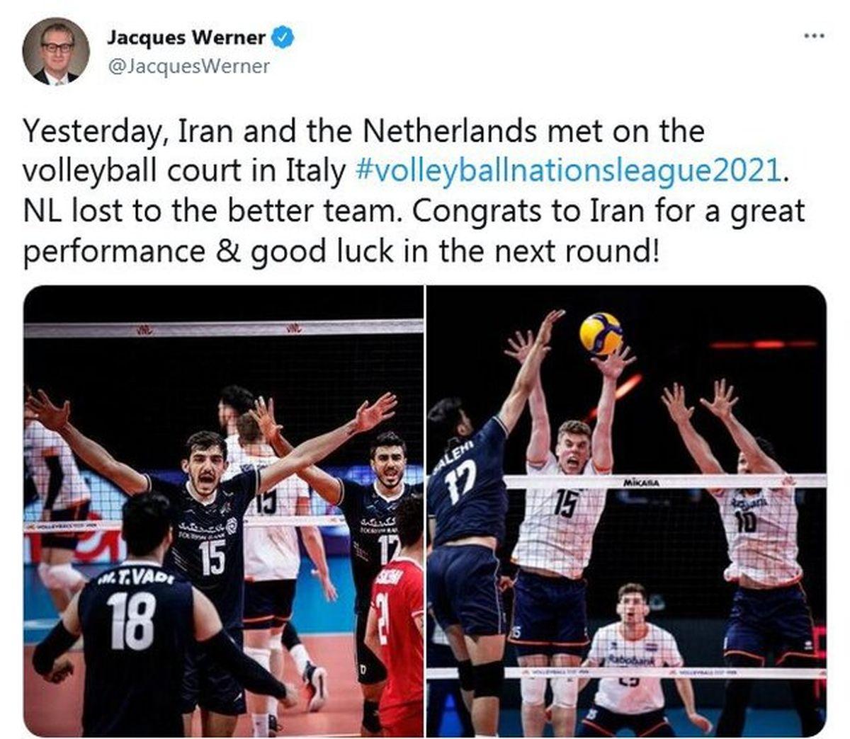 تبریک سفیر هلند در تهران به تیم ملی والیبال ایران
