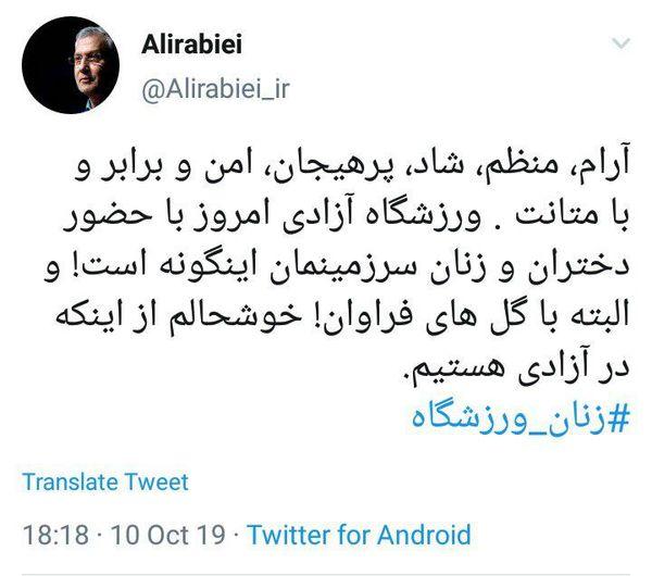 توصیف سخنگوی دولت از رفتار زنان ایرانی در ورزشگاه آزادی