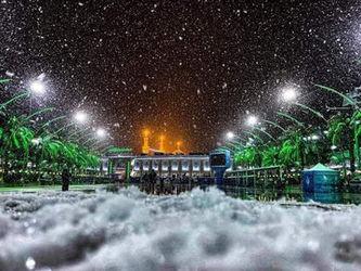 بارش برف زیبا در کربلا