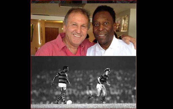عکس/ پله و زیکو اسطوره های فوتبال برزیل در یک قاب از سال 48 تا الان